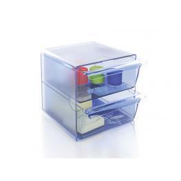 Archivo 2000 Cubo Organizador Cubo 2 Cajones Grandes Azul Transparente 190X155X155Mm  6702Aztp