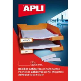 Bolsa 12 Bolsillos Autoadhesivos Portaetiquetas 25X75 Mm Apli 2616