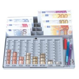 Portamonedas Plastico Euro Q-Connect Con Bandeja Metalica Para Billetes