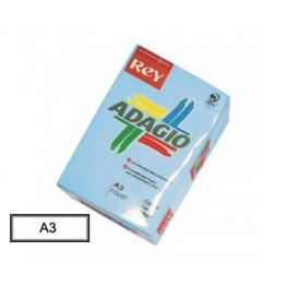 Paq. 500 H Papel A-3 80Grs Adagio Azul Pastel