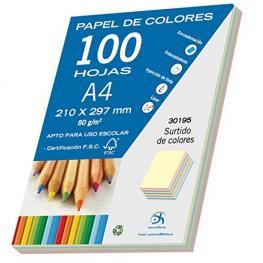 Paq. 100H. A-4 Colores Pastel Surtidos 30195