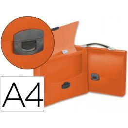 Carpeta Beautone Portadocumentos Broche 34621 Polipropileno Din A4 Naranja Transparente Con Asa