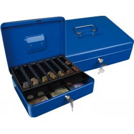 Caja Caudales Q-Connect 12 300X240X90 Mm Azul Con Portamonedas