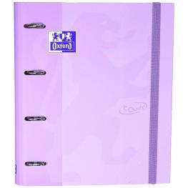 Carpeta Carton A4+ Oxford 4 Anillas Touch + Recambio Color Malva Pastel