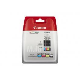 Canon Cartucho Inyección 551C Negro, Cian, Amarillo y Magenta Blister Pack 4 6509B009