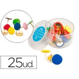 Chinchetas Liderpapel Plastificadas Caja de 25 Unidades Colores Surtidos