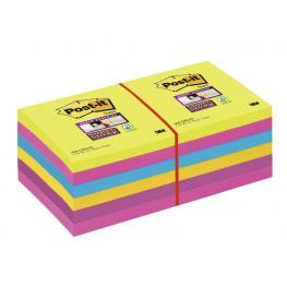 Post-It Notas Adhesivas Super Sticky Pack 12 Blocs 90H Colores Arco Iris 76X76Mm 70005252062