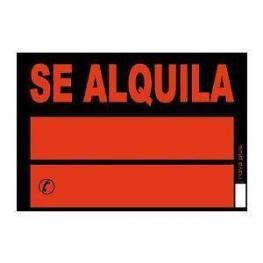 Archivo 2000 Cartel Anunciador Se Alquila 700X500 Mm Naranja Fosforescente y Negro Pvc    6161Ne