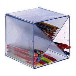 Archivo 2000 Cubo Organizador Cubo División En Aspa Azul Transparente 155X155X155 Mm 6703Aztp