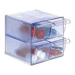 Archivo 2000 Cubo Organizador 4 Cajones Pequeños Azul Transparente 6704 Aztp