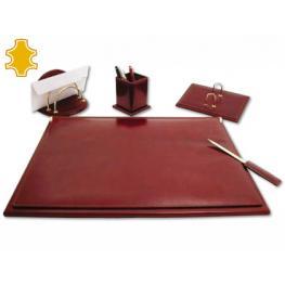 Escribania de Sobremesa Artesania de Piel Juego de 5 Piezas Medidas 40X53,5X2,7 Cm.Base de Madera.