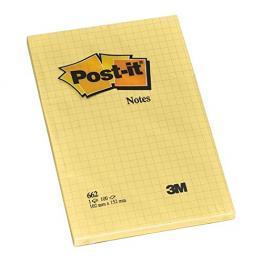 Post-It Notas Adhesivas Gran Formato 100H Amarillo Cuadriculado 102X152Mm
