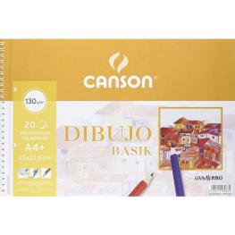 Guarro Canson Bloc Dibujo Basik A4+ 23 X 32.5 Cm -20 Hojas Microperforado -2 Taladros, Con Recuadro.