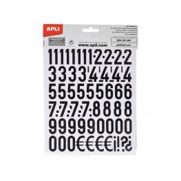 Apli Letras y Números Adhesivos 209 Ud 25Mm Negro 4425