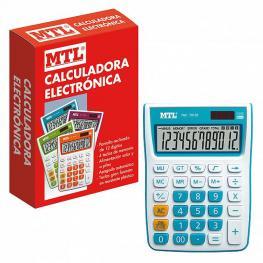 Mtl Calculadora Mediana 12 Digitos Color Azul 79132