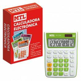 Mtl Calculadora Mediana 12 Digitos Color Verde 79134