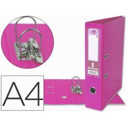 Archivador de Palanca Liderpapel A4 Documenta Forrado Pvc Con Rado Lomo 75 Mm Rosa Compresor Metalic