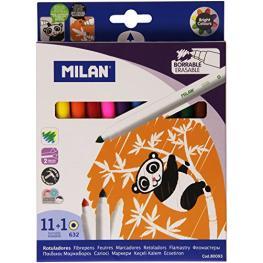 Estuche 11 Rotuladores Borrables + 1 Rotulador Borrador Milan