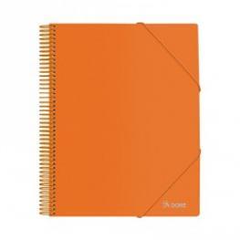 Carpeta Dohe A4 30 Fundas Espiral Plastico Gomas Naranja
