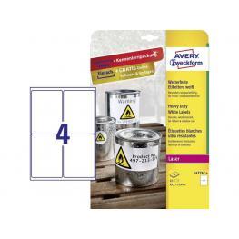 Avery Caja 8 Hojas Con Etiquetas 99,1X139 Mm. Blancas En Poliéster Para Impresoras Laser L4774-8