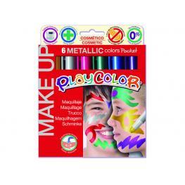 Playcolor Caja 6 Témperas Sólidas Make Up Colores Metálicos Certificados 01011