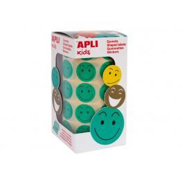 Apli Rollo 900 Gomets Redondos Smile (30 Hojas Micropreforadas) Verde 14373