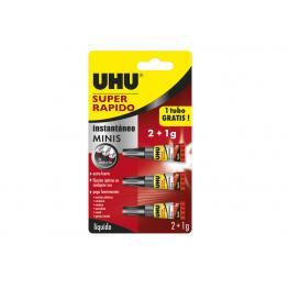 Uhu Pegamento Super Rapido Liquido Mini 3 Tubos de 1G 36511