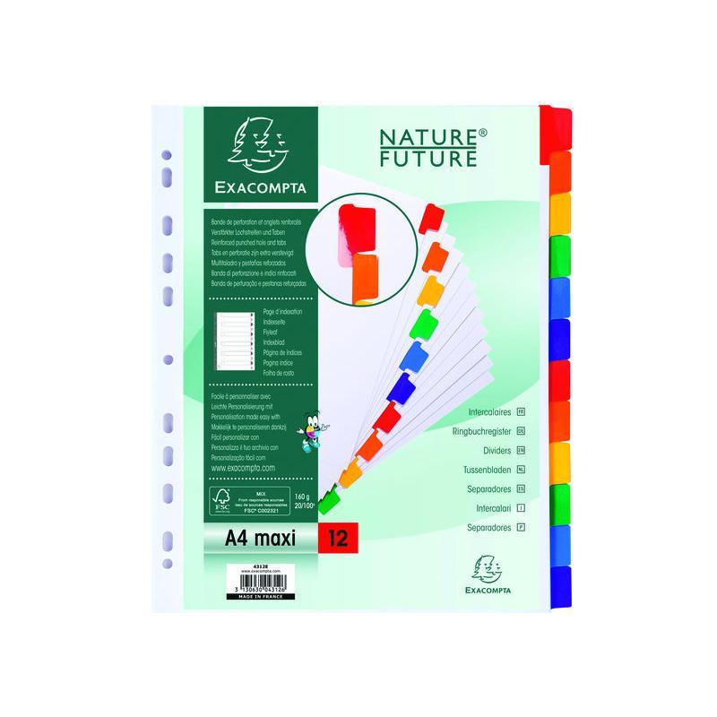 Exacompta Separador de Cartulina Blanca+Pestala de Color A4+ 12Posiciones Ref.4312E