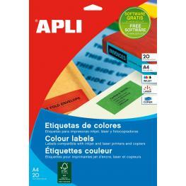 Paq. 20H Etiquetas Apli A-4 Azul 1600