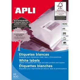 Apli Caja 500 Hojas Etiquetas Blancas I/l/c 64,6X33,8 Mm