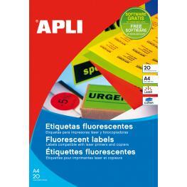 Apli Paq. 20H Etiquetas Verde Fluor 64,0 X 33,9