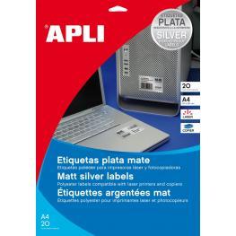 P.20H Etiq. Apli Poliester Plata 45,7X21,2 Laser 10066