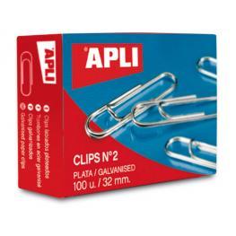 Caja 100 Clips Galvanizados Apli Nº 2 11714