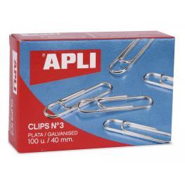 Caja 100 Clips Galvanizados Apli Nº 3 - 40 Mm