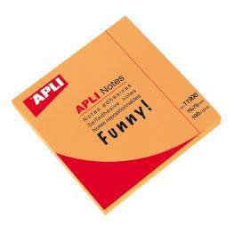 Bloc 100H Notas Adhesivas Naranja Funny 75X75 Apli 11900