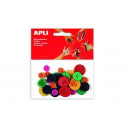 Paq. 30 Botones Madera Colores Apli 13481