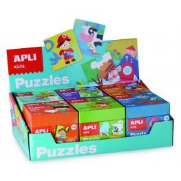 Caja.Expositor Azul 6 Uds. Puzzles Apli 13856