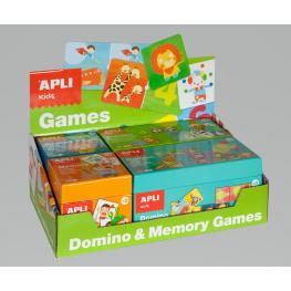 Caja Expositor Verde 4 Uds. Domino & Memory Games Apli 13857