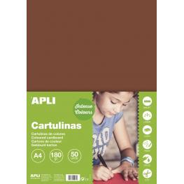 Cartulina 180G A4 50H Marrón 14245