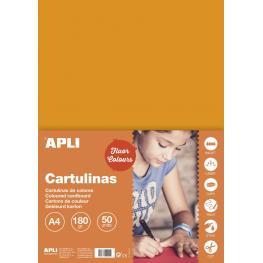 Cartulina 180G A4 50H Naranja Fluor 14250