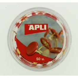 Caja 50 Uds. Chinchetas Color Rojo Apli 11729