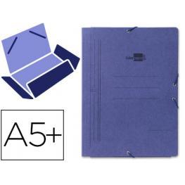 Carpeta A5 Carton Gomas y 3 Solapas Azul Liderpapel