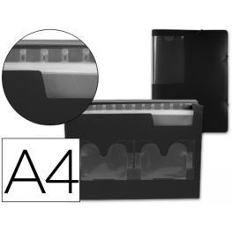 Carpeta Liderpapel Clasificador Fuelle 33625 Polipropileno Din A4 Negra 2 Disketteras 13 Departament