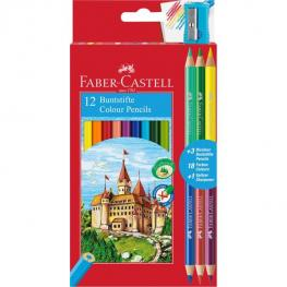 Faber-Castell Estuche de Carton 12 Lapices de Color Forma Hexagonal + 3 Lapices Bicolores