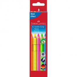 Faber-Castell Estuche Carton 5 Lapices Jumbo Grip Colores Neon
