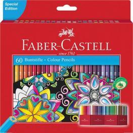 Faber-Castell Estuche-Soporte de Cartón 60 Lapices de Color Forma Hexagonal