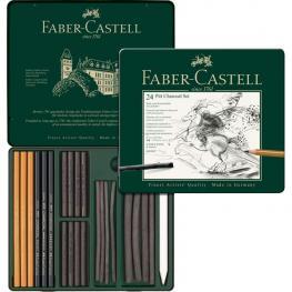 Faber Castell Estuche de Metal Pitt Carbon Con 24 Piezas. Surtido de Tizas y Lapices de Carbon Natur
