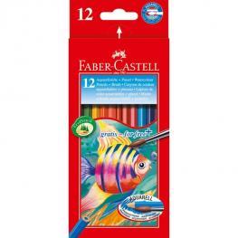 Faber-Castell Estuche de Carton 12 Lapices de Color Acuarelables + 1 Pincel