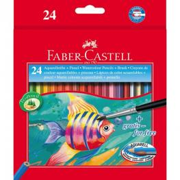 Faber-Castell Estuche de Carton 24 Lapices de Color Acuarelables + 1 Pincel
