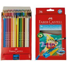 Faber-Castell Estuche de Carton 36 Lapices de Color Acuarelables + 1 Pincel + 1 Afila